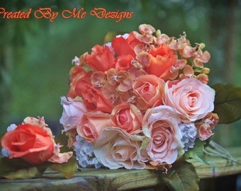 Ombre Shabby Chic Bridal bouquet with matching Boutineer