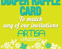 Diaper Raffle - Diaper Raffle Insert - Bring a Pack of diaper to win a prize card - Made to match any of our designs