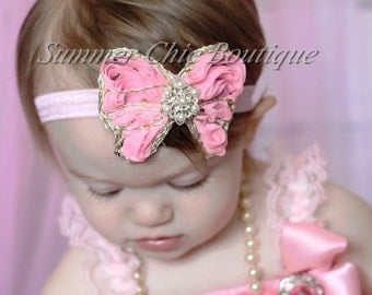 Light Pink Butterfly Headband, Baby Headband, Infant Headband, Newborn Headband, Toddler Headband, Light Pink headband