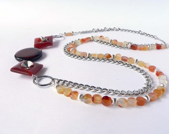 Statement brown necklace handmade with semiprecious carnelian and agate stones. ooak made in Italy.