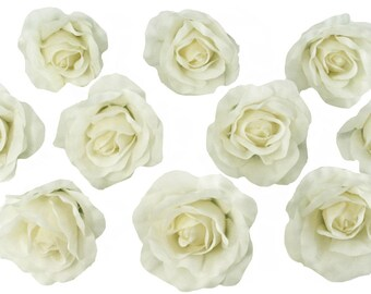 10 Ivory Rose Heads Silk Flower Wedding/Reception Table Decorations Bulk Silk Flowers