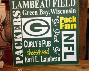 "Greenbay Packers Wall Decor, Lambeau Field, Football Signs ""Green Bay Packers ""12""x12"" Wooden Sign, Sports Gifts, Football Subway Art"