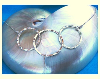 Three Circle Necklace in Fine Silver