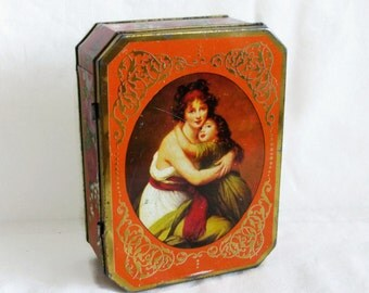 Mother & Daughter Warm hug. Vintage TIN BOX, fondling embrace, Mothers Day, Gift for mom. Victorian shabby cottage chic decor Dresser vanity