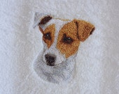 Jack Russell Terrier embroidered hand towel