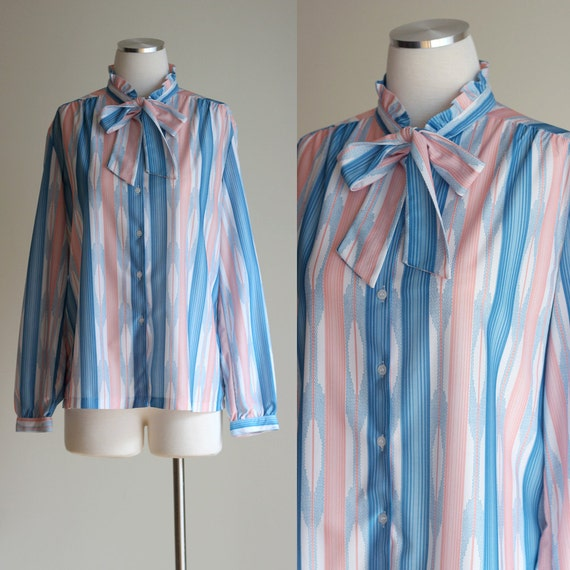 Vintage 70s Southwest Print Striped Long Sleeve Secretary Blouse with Pussy Bow and High Ruffled Collar  -  Size Medium / Large