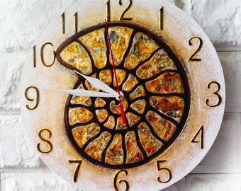 The Golden Ammonite Snail Wall Clock, Home Decor, modern wall clock, golden office decor