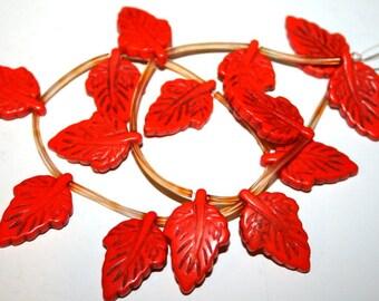 Full Strand of Orange Magnesite Carved Leaves