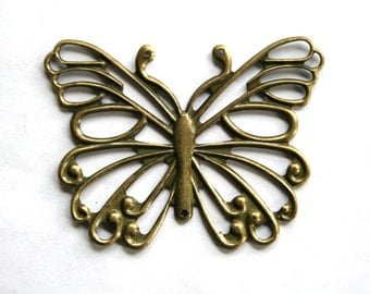 2 Lovely Antique Bronze Butterfly Connector/Pendant