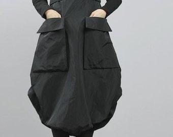 Avant Garde Big Poket Cotton Wool Padded Bubble Dress for Winter  Lagenlook
