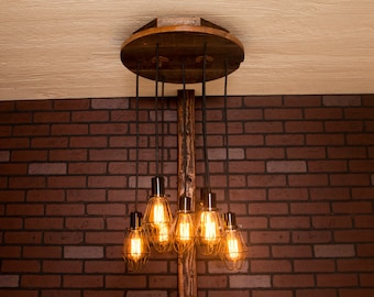 Industrial lighting, Industrial Chandelier, Antique Brass With Reclaimed Wood and 7 Pendants. R-18C-AC-7