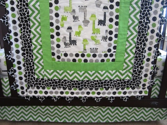Green Gray And Black Giraffe Baby Quilt Crib Skirt Fitted
