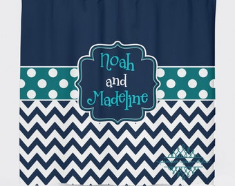 Custom Designed Polka Dot And Chevron Navy And Teal Shower Curtain, Boys  And Girls Bathroom