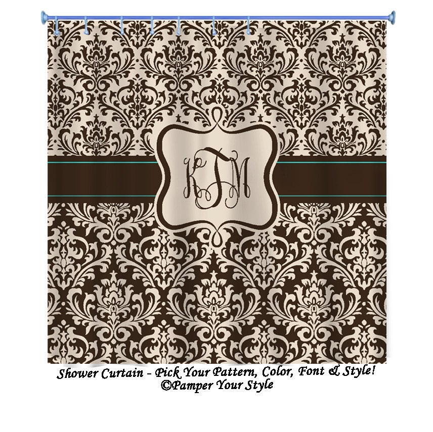 Brown And Tan Damask With Turquoise Shower Curtain