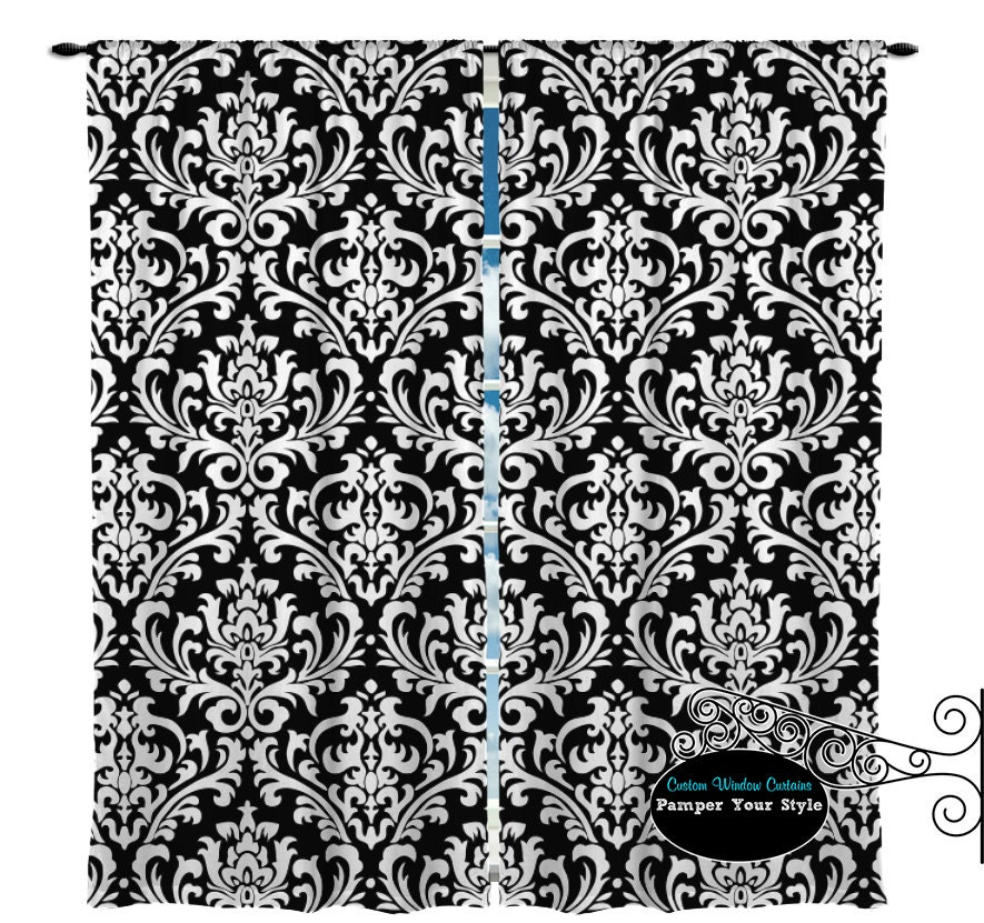 Black And White Damask Window Curtain Any Color Available