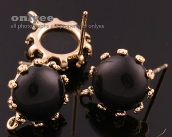 1pair/2pcs-10mm Gold plated Brass,Faceted Round Glass Earring, post earrings-Black(M340G-D)
