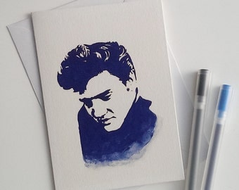 Elvis Presley, The King, King of rock and roll, Greetings card, blank card, Hand printed Card