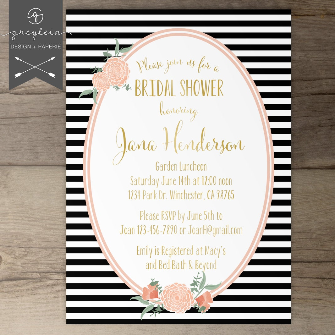bridal shower invitation black and gold and black wedding - 28 ...