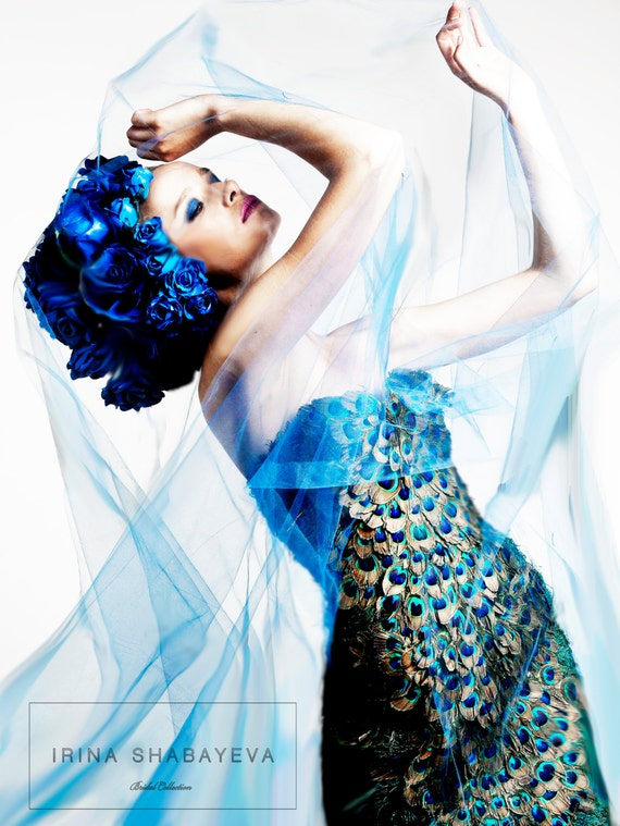 IRINA SHABAYEVA COUTURE Peacock feather dress also comes as a gown