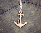 Anchor Ornament Wood Laser Cut Heirloom Beach Nature Water Natural