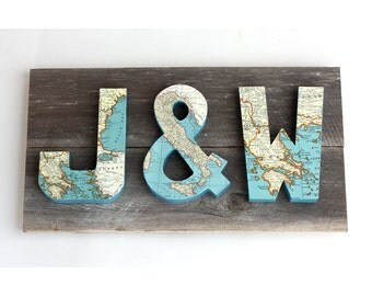 Vintage Map Letters on Reclaimed Wood - Customize - 22 Inches