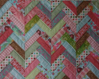 Friendship Braid Art Quilt in Multicolors ; Doll Quilt ; Girl's Quilt ; Textile Art ; Children's Quilt ; Braided Quilt ; Scrappy Quilt