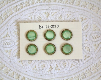SALE 50 OFF Vintage Green Buttons with Golden Trim Set of 6 Sewing Supplies Crafts