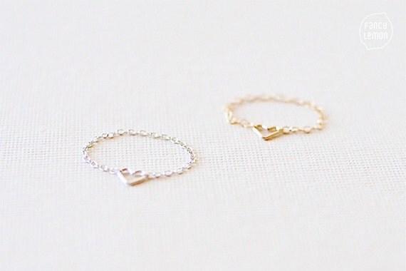 SALE tiny heart chain ring