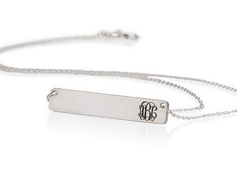 Personalized Bar Name Necklace Monogram Necklace, Initial Necklace, Sterling Silver