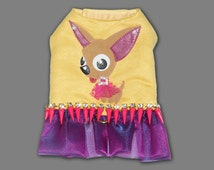 Tan Chihuahua Art Bling Spike Harness Dress in Yellow and Fuscia Pink