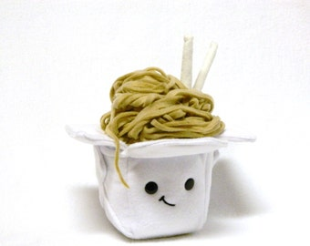 Plush take out box and noodles toy