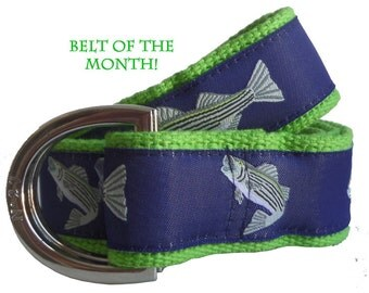 Ribbon Belt/ Men's D-Ring Belt/ Canvas Belt/ Preppy Belt/ Striped Bass on Khaki or Green Webbing D-Ring Belt