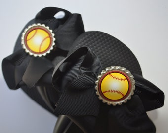 Interchangeable softball flip flop bows You CHOOSE bow color softball party idea party favor, softball gift, softball gifts. softball shoes