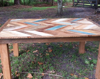 Chevron Dining Table Reclaimed Wood