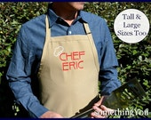 """Personalized Men's Apron with """"Chef and Name"""" - men's aprons, mens grilling apron, men's tall aprons, men's BBQ aprons Father's Day apron"""