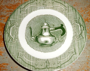 Vintage Plate, Royal China, Old Curiosity Shop, Tea Kettle, Green, Tea Pot, Hinges, Drawer Pulls, Coffee Pot, Bread & Butter Plate