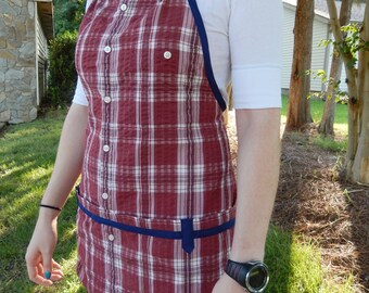 Cranberry and Navy Plaid Seersucker Apron - Upcycled from man's shirt