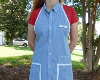 Blue and White Pin Stripe Apron - Upcycled from Man's Shirt