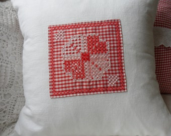 Vintage White Cotton Cushion with Chicken Scratch Embroidery on Red Gingham