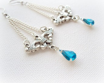 Icing Drop Long Chandelier Earrings. Sky Blue Crystal Teardrop Dangle Earrings. Christmas gift. Xmas Collection.