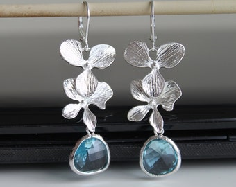 NEW Cascade orchid flower silver earrings, aquamarine crystal earrings, bridesmaids gift. Wedding jewelry