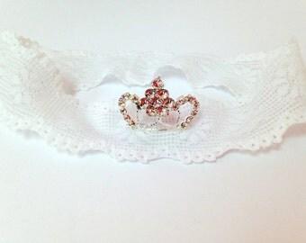Laced Princess Tiara Headband, Princess Headband, Swarovski Headband, Baby Girl, Lace Headband, Photo Prop, white headband, 1st Birthday