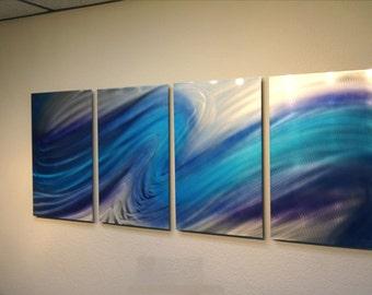 Metal Wall Art Decor Aluminum Abstract Contemporary Modern Sculpture Hanging Zen Textured - Aurora