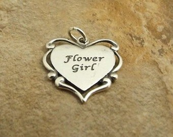 Sterling Silver Flower Girl Heart Charm with Date Engraved on Back - 1751
