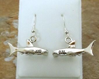 Sterling Silver Hammerhead Shark Dangle Earrings on Sterling Silver French Hooks-0783