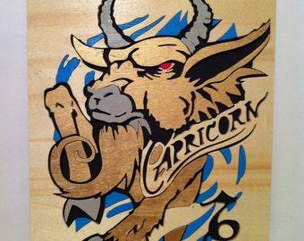 Capricorn wooden scroll saw wall art