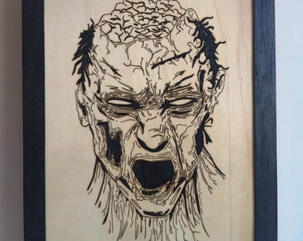 Zombie with fire wood pyrography