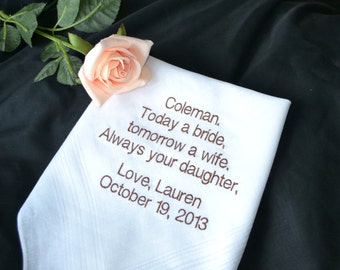 Personalized Wedding Hankie for Father/Step Father of the Bride