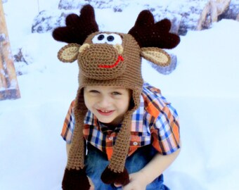 Moose hat.Handmade moose hat.Crochet Moose hat