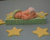 Custom Baby Boy  with stars cake topper